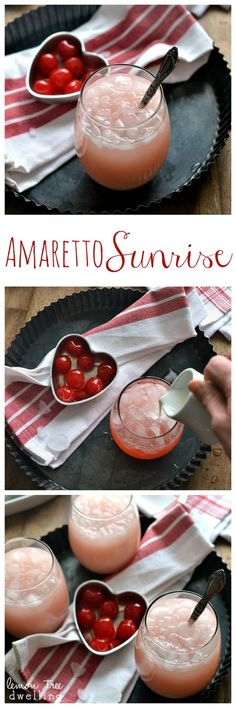 Amaretto Sunrise – a deliciously sweet cocktail made with homemade amaretto, triple sec, grenadine, and a splash of cream.