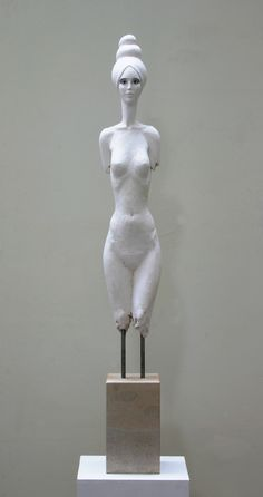 Woman II by Damian Fennell 2005. Crystacal superhard plaster, paint, stainless steel, sandstone.