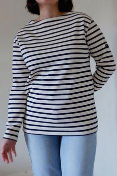 Guildo R Breton Striped Long Sleeve Cotton Top Breton Stripes, Saint James, Classic Style, Denim, Navy Blue, Ivory, Long Sleeve, Neckline, Silhouette