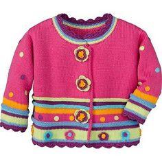 Free Baby Blanket Patterns, Baby Girl Patterns, Baby Knitting Patterns, Crochet Baby Cardigan, Crochet Baby Clothes, Girls Sweaters, Baby Sweaters, Knitting For Kids, Crochet For Kids