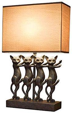 Bits and Pieces - Dancing Cat Lamp - Animal Shaped Table Lamp - Dancing Kitty Cats - Resin Kitty Dancers Lamp Shade Is Linen Like Texture - Without Shade It Measures X X Cat Light, Light Up, Cat Lamp, Dancing Cat, Decorating Your Home, Kitty Cats, Sweet Home, Dancers, Shades