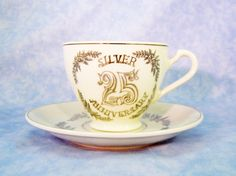 25th Anniversary Cup and Saucer by RichardsRarityRealm on Etsy