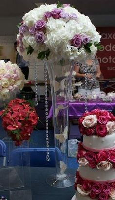Flowers, Reception, White, Purple, Centrepiece, The flower company