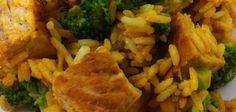 Die indische High Carb Hähnchen Brokkoli Reis Pfanne