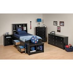 Sonoma Black Tall Twin Set - Storage Bed and Storage Headboard Twin Bedroom Sets, Loft, Bedroom Layouts, Bed Sizes, New Room, Bedding Sets, Toddler Bed, House Design, Storage Headboard