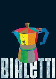Bialetti Moka coffee pot Illustration on the Behance Network Vintage Italian Posters, Pub Vintage, Vintage Labels, Vintage Food Posters, Poster Vintage, Vintage Coffee, Vintage Signs, I Love Coffee, My Coffee