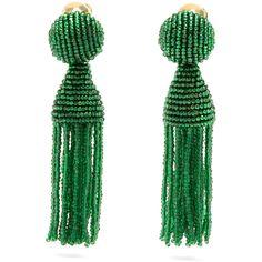 Oscar De La Renta Bead-embellished tassel-drop clip-on earrings (€380) ❤ liked on Polyvore featuring jewelry, earrings, green, green stud earrings, glass earrings, tassel earrings, glass bead earrings and fringe tassel earrings