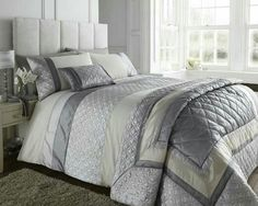 Silver and cream, durban bedding by Catherine lansfield. .