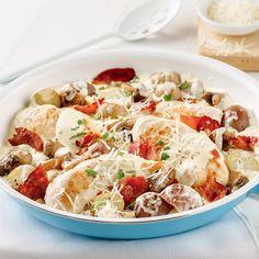 Poêlée de pommes de terre et poulet carbonara au bacon - 5 ingredients 15 minutes