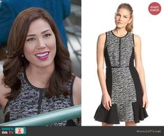 Angela's grey textured dress with leather trim on Bones.  Outfit Details: http://wornontv.net/48312/ #Bones