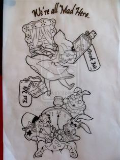 Alice in wonderland sleeve tat by Malitia-tattoo89.deviantart.com on @deviantART