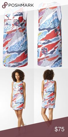 NWT: Adidas Trefoil Tank Dress TREFOIL TANK DRESS A VERSATILE DRESS WITH A SUMMERY PRINT. This dress comes in an allover print inspired by carefree, summery Venice Beach, California, perfect for hot days and casual nights. With a casual tank cut in mesh and a soft jersey lining, it's finished with a Trefoil logo on the chest. Round neck Allover summertime-inspired graphic print High-density rubber-print Trefoil logo on front Regular fit Shell: 100% polyester mesh; Lining: 100% cotton single…