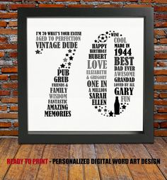 70 and Counting! So lets celebrate a special birthday by treating your loved one to this uniquely designed personalized word art print. This 70th