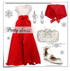 """""""Perfect Party Dress"""" by pat912 ❤ liked on Polyvore featuring Carmen Marc Valvo, Natasha Couture, Aquazzura, partydress, polyvoreeditorial and holidaydress"""