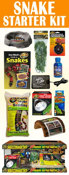 Snake Starter Kit. Includes 20 gallon tank, aspen snake bedding, Habba Hut, Plastic Bush Plant, water dish, thermometer, 100 W Daylight Blue bulb, Mini Deep Dome fixture, water conditioner, and Guide to Snakes booklet. Perfect holiday gift for animal lovers. #christmas