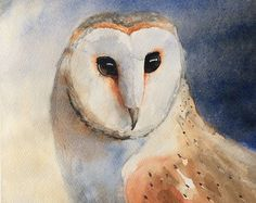 Barn Owl Original Watercolor Painting