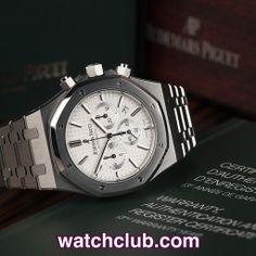 AUDEMARS PIGUET Royal Oak 41mm Chronograph - 'Latest Model' REF: 26320ST.OO.1220ST.02 | Year Jul 2013 Making alterations to a concept that has remained largely unchanged for 40 years may seem risky, but Audemars Piguet have pulled it off in the greatest of style. A new larger stainless steel case sports a crisp white 'grande tappisserie' dial with white gold luminous hour makers and hands and powered by AP's in-house automatic chronograph movement (cal.2385), our watch is in like new…