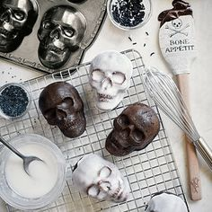 Shop Nordic Ware Skull Pan, 6 Cavity and more from Sur La Table! Halloween Clearance, Halloween Treats, Halloween Party, Halloween Baking, Halloween Queen, Halloween Night, Halloween 2020, Spooky Halloween, Skulls For Sale