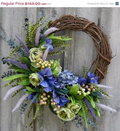 Spring Wreath, Easter Wreath, Floral Wreath, Spring Floral, Designer Wreath… Mais