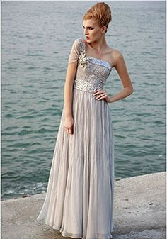 Chiffon One Shoulder Natural Waist Beaded Short Sleeve Pleated Evening Dress picture 1