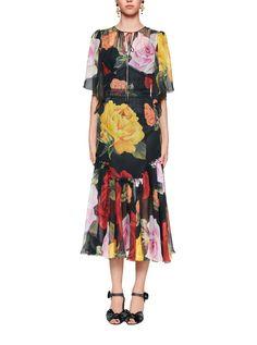Dolce & Gabbana Floral-print Silk-chiffon Midi Dress In Black Silk Chiffon, Silk Dress, Dress Images, Feminine Style, Street Chic, Designing Women, High Fashion, Cold Shoulder Dress, Large Format