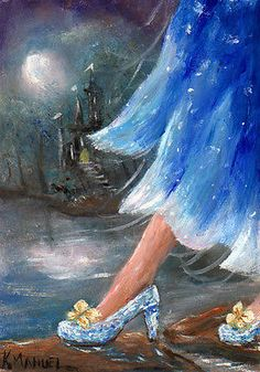 "ACEO Miniature OIL Painting ""The Glass Slippers"" Cinderella Fantasyby K.Manuel in Art, Direct from the Artist, Paintings 