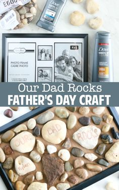 For a cute, inexpensive homemade Father's Day craft, you can make this adorable Our Dad Rocks Father's Day craft with supplies from the dollar store. Diy Father's Day Crafts, Craft Day, Rock Crafts, Homemade Fathers Day Gifts, Fathers Day Presents, Homemade Gifts, Diy Father's Day Mug, Father's Day Diy, Great Father's Day Gifts