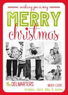 Lime & Red Christmas photo card with multiple pictures