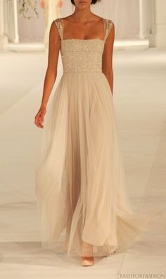 Floor length beaded gown - this is so flowy and beautiful, perfect for a beach wedding if that's the route I go!
