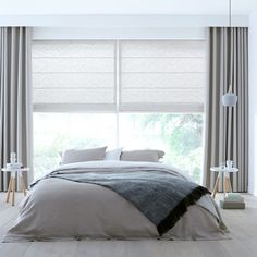 White and grey curtains Grey And White Curtains, Grey Curtains, Curtains With Blinds, Roman Blinds, Window Curtains, Modern Curtains, Bedroom Blinds, Home Curtains, Cortinas Rollers