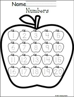 Free Numbers Worksheet - Editable Apples Theme Free Numbers Worksheet - Editable Apples Theme This worksheet has traceable numbers to 20 for your students to practice writing. Just print and use. Letter Writing Worksheets, Kindergarten Math Worksheets, Tracing Worksheets, Preschool Learning, In Kindergarten, Preschool Printables, Tracing Letters, Printable Worksheets, Free Printable
