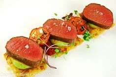 If You Can Stand The Heat: Roasted Lamb Loin with Basil-Potato Puree, Tomato Jam, Olive Tapenade, Potatoes Gratin