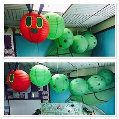 "Our Very Hungry Caterpillar display made from paper lanterns! Super simple, with a huge impact. The face had been made with coloured card and then we simply collaged the green lanterns with different materials. They have been individually hung from the ceiling to create a ""wriggling"" effect. #TheVeryHungryCaterpillar #Display #EYFS #EricCarle Eyfs Classroom, Classroom Displays, Classroom Ideas, Caterpillar Craft, Very Hungry Caterpillar, Green Lanterns, Paper Lanterns, Birthday Display Eyfs, Display Windows"