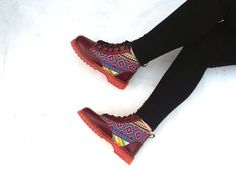 Maroon leather ankle boots pink purple ikat by MarapulaiClothing