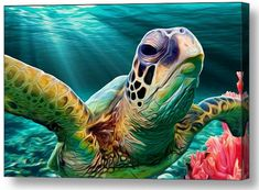 "For you Tropical Paradise Lovers out there - Sea Turtle Cruise.  I swam right next to two sea turtles while snorkeling in Hawaii two years ago.   It was such an impressive sight, and the inspiration for this mixed media art piece.  A perfect gift or home decor item for any sealife lover or coastal resident -- or anyone who has or wants to vacation in the tropics! Available in the following sizes / options   NEW!!  Sea Cruise 18x18"" Decorative Throw Pillow!  Click Here!   NEW!!  Sea"