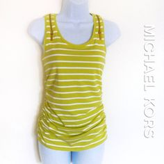 Micheal Kors Mint Striped Top Michael Kors stripe top with side ruching very figure flattering & gold zipper detailing on both shoulders. Color is Mint & White stripes. Super cute!  MICHAEL Michael Kors Tops