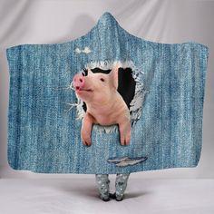 Hooded Blanket - pig funny 3d