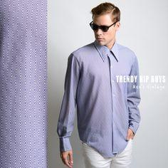 Men's Vintage shirt Men's 70s shirt Men's Top Vintage Blue shirt Vintage top Men's Blue shirt Dress Shirt Mod - L/XL