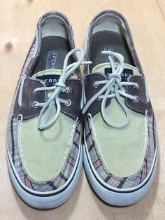 SPERRY TOP SIDER Women's Loafers Shoes Size 8.5 Boat Canvas Plaid Leather Laces