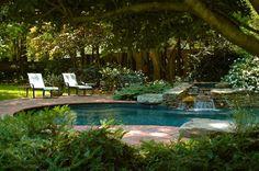 Natural Backyard Garden Design with Swimming Pool