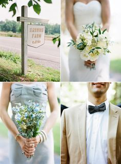 LOVE that blue and white bridesmaid dress