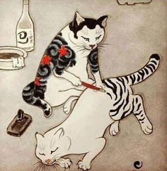Cat Tattoo By Kazuaki Horitomo Kitamura