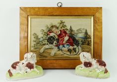 19th Century Miniature Needlework Embroidery Newfoundland Dog Circa 1850