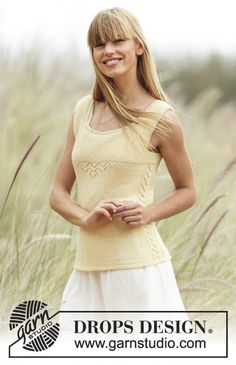 "Fresh Lemonade - Knitted DROPS fitted top, worked top down with raglan and lace pattern in ""BabyAlpaca Silk"". - Free pattern by DROPS Design Drops Design, Summer Knitting, Free Knitting, Sweater Knitting Patterns, Crochet Patterns, Raglan, Summer Tops, Free Pattern, Knitwear"