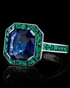Robert Procop 4ct Sapphire and Emerald Ring