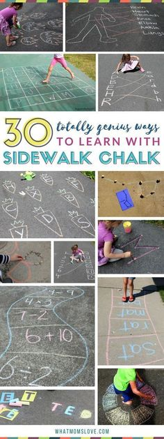 Sidewalk Chalk Learning Activities for kids Summer slide prevention and boredom busters with fun games for reading math letters numbers sight words science and more Bes. Outdoor Activities For Kids, Kids Learning Activities, Summer Activities For Toddlers, Outdoor Play For Toddlers, Learning Activities For Toddlers, Outdoor Learning Spaces, School Age Activities, Educational Activities For Kids, Outdoor Education