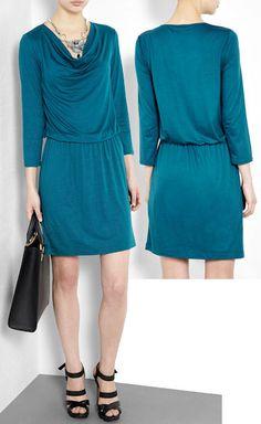 DKNY Teal Cowl Neck Dress