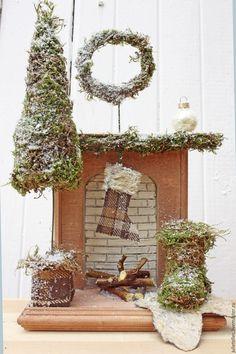 Купить Миниатюрный камин - коричневый, камин, фальш камин, миниатюра, новогодний сувенир, подарок