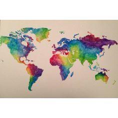 Original Watercolor World Map Art 18x24 by EricaBibeeArt on Etsy, $130.00