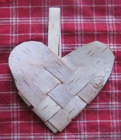 Danish woven heart ornaments made from birch bark. Love these.